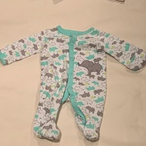 Carter's One Pieces - 🐘 pull back mitten footed onesie 🐘